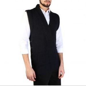 Emporio Armani sweater vest side button navy blue